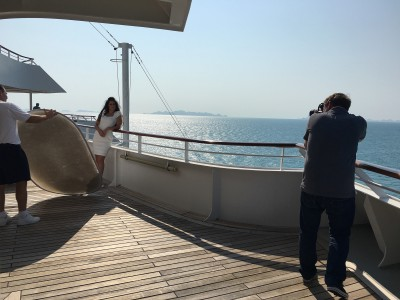Behind the scenes crearing portraits on Crystal Cruises